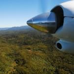 Anflug mit der Propellermaschine