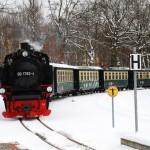 Der Rasende Roland fährt in den Bahnhof von Sellin